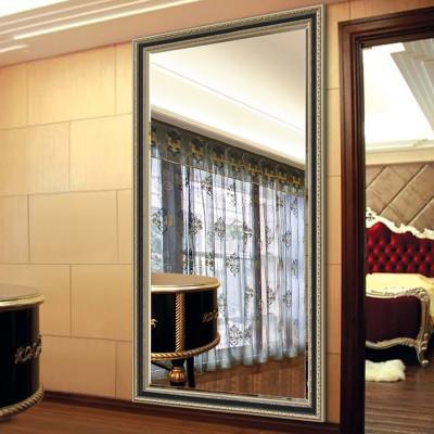 法兰棋欧式木质边框穿衣镜 壁挂悬挂服装店落地试衣更衣全身镜子k8586