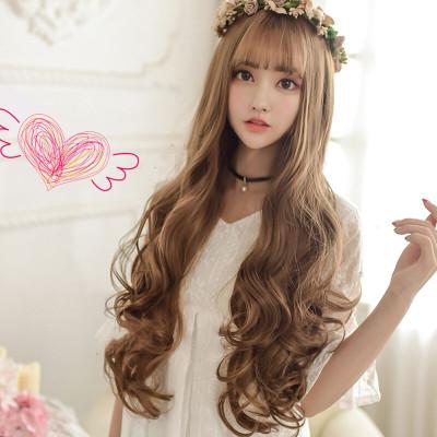 美元素假发 女 长卷发空气刘海长发型假头发 蓬松气质长发型 女士假发